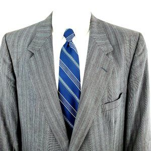 Lanvin 48R 2 Button Striped Check Gray Wool Blazer